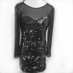 Milly black silver sequins w sheer top dress SZ 2